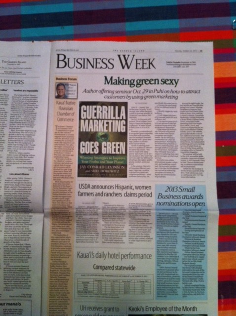 Shel Horowitz and his eighth book, Guerrilla Marketing Goes Green, were featured in this front-of-section article in Hawaii, 5000 miles/8000 km from his home