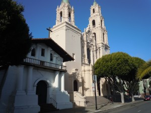 The original San Francisco mission (built 1785-91) and the neighboring basilica