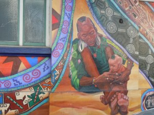 African woman with child mural closeup, the Women's Building, San Francisco