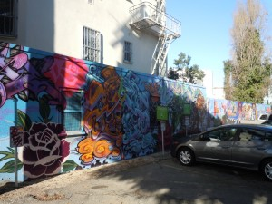 Murals at a Zipcar parking lot, San Francisco