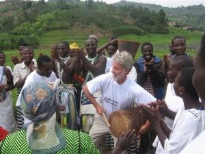 Dean Cycon, CEO, Dean's Beans, jamming with musicians in Rwanda