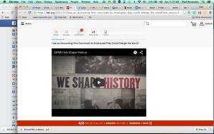 "Screenshot of KPMG's internal ""higher purpose"" video captioned ""We Shape History"""