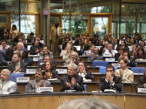 Delegates at an international meeting