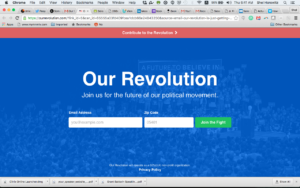 Landing page of OurRevolution.com