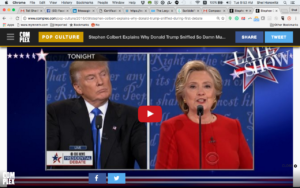 Donald Trump and Hillary Clinton face off. Screenshot from CBS News.