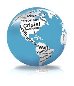 Globe showing various crises around the world