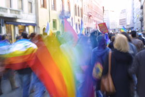 Rainbow Peace banner at a demonstration. Photo by Michele Migliarini