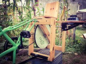 This blender is one of 19 different types of bicimaquinas—bike-powered equipment—developed by Maya Pedal in San Andrés Itzapa, Guatemala