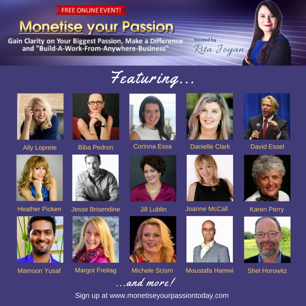 Shel Horowitz and other speakers at Rita Joyan's Monetise Your Passion Summit