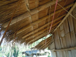 Roof made of traditional bamboo and thatch in the multi-tribe hill village. Photo by Shel Horowitz.