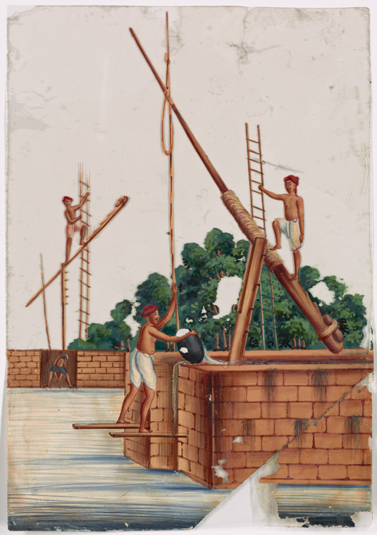 Three men on river structures with ladders and levers. Retrieved from http://digitalcollections.nypl.org/items/06e13eb0-8a8e-0131-0778-58d385a7bbd0