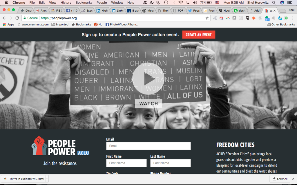 ACLU's PeoplePower.org screenshot