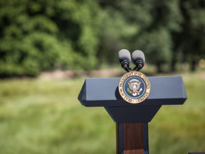 Empty podium with Presidential Seal in Yosemite National Park—included in the BSR press release