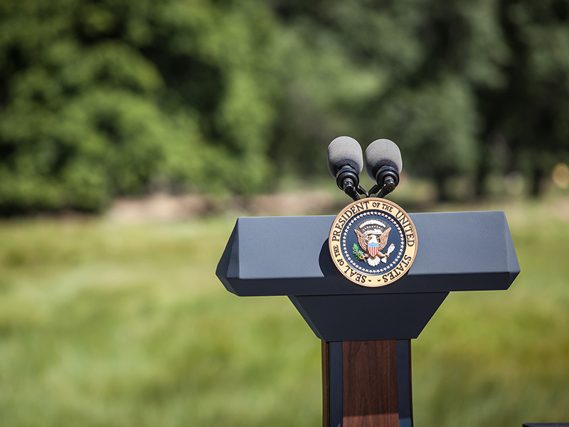 Empty Podium with Presidential Seal in Yosemite National Park