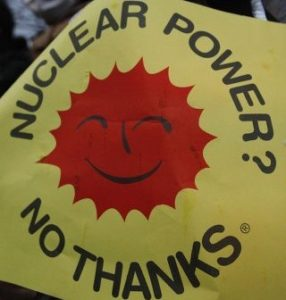 This logo featuring the sun and the Nuclear Power? No Thanks was a common sight at nuclear protests in the 1970s and 1980s. It was translated into many languages.