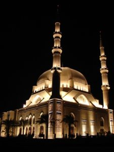 A mosque at night. Photo by Ramzi Hashisho, freeimages.com